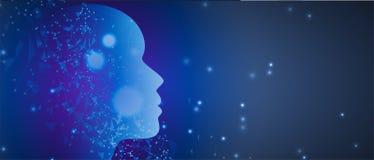 Intelligence artificielle Fond de Web de technologie Concentré virtuel Photo stock