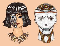 Intelligence artificielle Homme et femme avec la moitié du visage du robot Replicant ou Android Future technologie tir?e par la m illustration de vecteur