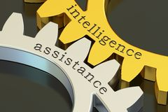 Intelligence assistance concept on the gearwheels, 3D rendering. Intelligence assistance concept on the gearwheels, 3D Stock Image