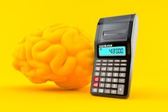 Intelligence background with calculator. In orange color. 3d illustration Royalty Free Stock Photos
