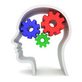 Intelligence and brain function. Gears in human head on white background vector illustration