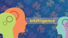 Intelligence concept with human head and gear works as brain and puzzle as background royalty free illustration