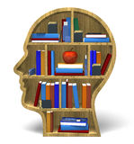 Intelligence 3D. Bookcase books concepts face dimensional Royalty Free Stock Photos