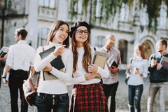 Intelligence. Girls. Happy Togeyher. Students stock images