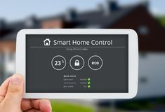 Smart home control technology. Remote automation system on mobil. Intelligence home control technology. Remote automation system on mobile device. Eco and stock photography