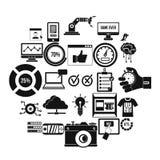 Intelligence icons set, simple style. Intelligence icons set. Simple set of 25 intelligence vector icons for web isolated on white background Stock Photo
