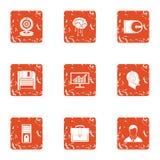 Intelligence information icons set, grunge style. Intelligence information icons set. Grunge set of 9 intelligence information vector icons for web isolated on Royalty Free Stock Photo