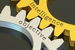 Intelligence objective concept on the gearwheels, 3D rendering Stock Images