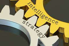 Intelligence strategy concept on the gearwheels, 3D rendering Royalty Free Stock Photo