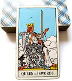 Queen of Swords Tarot Card Honesty Truth Principles Standards Clinical Sterile Reserved Detached Aloof Cool Private Sever. Intelligent Academic Boss Integrity royalty free stock photos