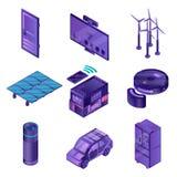 Intelligent apparatsymbolsuppsättning, isometrisk stil vektor illustrationer