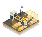 Intelligent Automated Manufacturing Isometric Composition. Smart industry intelligent manufacturing isometric composition with robotic arm and automated conveyor Royalty Free Stock Image