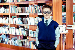 Intelligent boy. Portrait of an intelligent boy in glasses royalty free stock photography