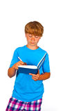 Intelligent boy with glasses. Intelligent boy in blue shirt with glasses Royalty Free Stock Photo