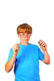 Intelligent boy with glasses. Intelligent boy in blue shirt with glasses Royalty Free Stock Photos