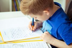 Intelligent boy makes homework in his room Stock Photography