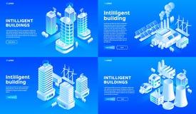 Intelligent building banner set, isometric style. Intelligent building banner set. Isometric set of intelligent building vector banner for web design stock illustration
