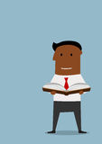 Intelligent businessman reading a book. Cartoon intelligent african american businessman standing and reading a book, flat style. For education or personal vector illustration
