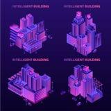 Intelligent byggnadsbaneruppsättning, isometrisk stil vektor illustrationer