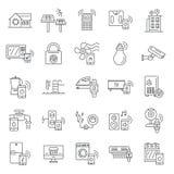 Intelligent byggnadssymbolsuppsättning, översiktsstil royaltyfri illustrationer