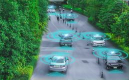 Intelligent car, Autonomous self driving vehicle with artificial. Intelligence AI,sensing system and wireless to detect moving objects and people,concept of stock photos