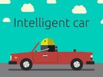Intelligent car with robot. Robot driving the car. Intelligent car, autopilot, future of automobile concept. EPS 10 vector illustration, no transparency vector illustration