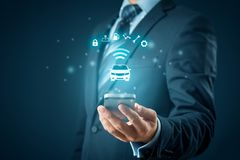 Intelligent car and smart phone app. Intelligent car, intelligent vehicle and smart cars concept with smart phones. Symbol of the car and information via royalty free stock image