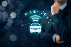 Intelligent car. Intelligent vehicle and smart cars concept. Symbol of the car and information via wireless communication about security, parking location Royalty Free Stock Photography