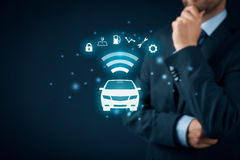 Intelligent car. Intelligent vehicle and smart cars concept. Symbol of the car and information via wireless communication about security, parking location Stock Photo