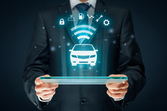 Intelligent car. Intelligent vehicle and smart cars concept. Symbol of the car and information via wireless communication about security, parking location stock illustration