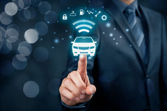 Intelligent car. Intelligent vehicle and smart cars concept. Symbol of the car and information via wireless communication about security, parking location Royalty Free Stock Photos