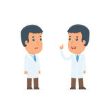 Intelligent Character Doctor learns and gives advice to his frie Royalty Free Stock Photo