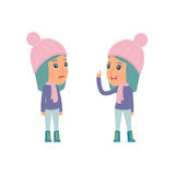 Intelligent Character Winter Girl learns and gives advice to his friend Stock Image
