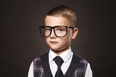 Intelligent child in glasses Royalty Free Stock Photo