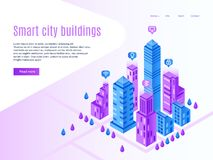 Intelligent city buildings. Urban landing page, futuristic cityscape and smart town. High tech building vector isometric. Intelligent city buildings. Urban vector illustration