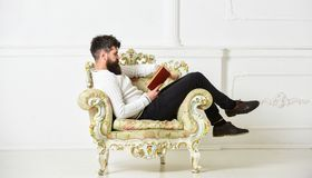 Intelligent concept. Macho smart spends leisure with book. Scientist, professor on serious face explores literature. Man. With beard and mustache sits on stock photography
