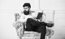 Intelligent concept. Scientist, professor on pensive face explores literature. Macho smart spends leisure with book. Man. With beard and mustache sits on stock photography