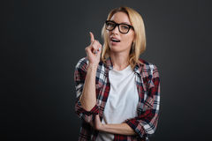 Intelligent cute girl sharing her thoughts Royalty Free Stock Image