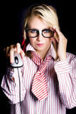 Intelligent female computer geek coding with mouse Stock Images