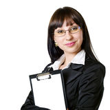 Intelligent girl with a pad Stock Photo