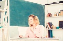 Intelligent girl student. Online community for teachers. Teachers day. Modern school. Woman work online. Distance