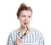 Intelligent girl thinking Stock Image