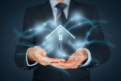 Intelligent house. Smart home and home automation concept. Icon of the house and wireless communication Stock Photos