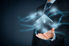 Intelligent house. Smart home and home automation concept. Symbol of the house and wireless communication Stock Photos