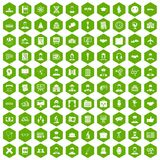 100 intelligent icons hexagon green. 100 intelligent icons set in green hexagon isolated vector illustration Royalty Free Stock Photos