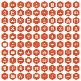 100 intelligent icons hexagon orange. 100 intelligent icons set in orange hexagon isolated vector illustration royalty free illustration