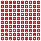 100 intelligent icons hexagon red. 100 intelligent icons set in red hexagon isolated vector illustration Royalty Free Stock Image