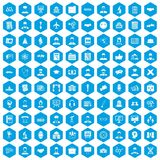 100 intelligent icons set blue. 100 intelligent icons set in blue hexagon isolated vector illustration Royalty Free Stock Photo
