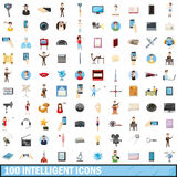 100 intelligent icons set, cartoon style. 100 intelligent icons set in cartoon style for any design vector illustration royalty free illustration