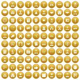 100 intelligent icons set gold. 100 intelligent icons set in gold circle isolated on white vectr illustration Vector Illustration